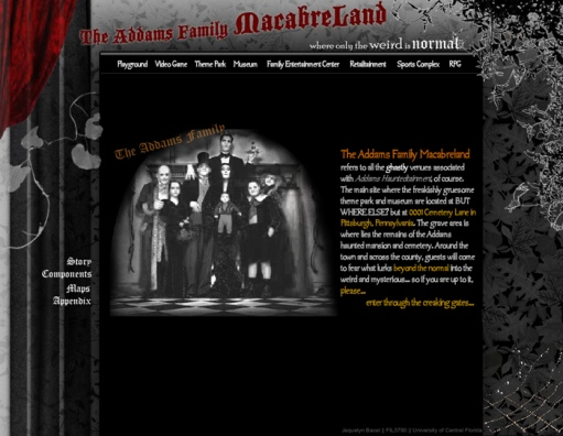 The Addams Family Macabreland Website